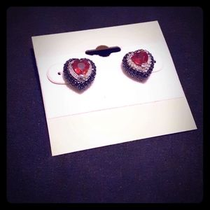 Ruby/Diamond Heart-shaped Sterling Silver Studs
